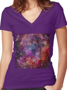 Galaxy - Under The Wing of The Small Megallenic Cloud Women's Fitted V-Neck T-Shirt