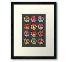 Watercolor Dia de los Muertos Skulls Framed Print