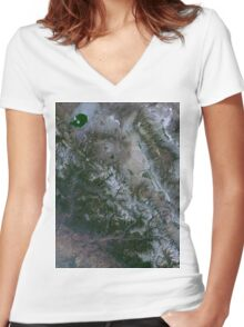 Yosemite National Park and Sierra Nevada Mountains California Satellite Image Women's Fitted V-Neck T-Shirt