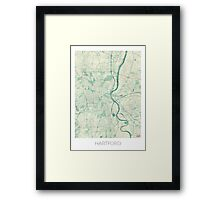 Hartford Map Blue Vintage Framed Print