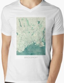 Bridgeport Map Blue Vintage Mens V-Neck T-Shirt