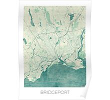 Bridgeport Map Blue Vintage Poster
