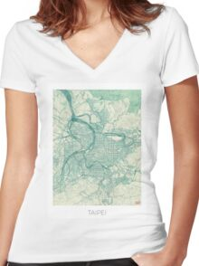 Taipei Map Blue Vintage Women's Fitted V-Neck T-Shirt