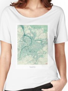 Taipei Map Blue Vintage Women's Relaxed Fit T-Shirt
