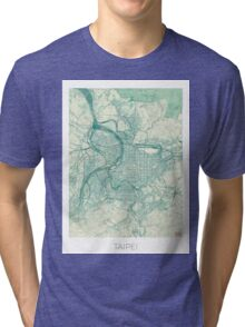 Taipei Map Blue Vintage Tri-blend T-Shirt