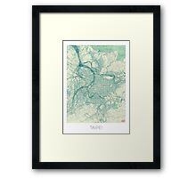 Taipei Map Blue Vintage Framed Print