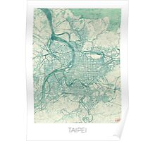 Taipei Map Blue Vintage Poster