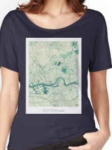 Rotterdam Map Blue Vintage Women's Relaxed Fit T-Shirt