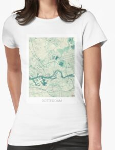 Rotterdam Map Blue Vintage Womens Fitted T-Shirt