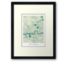 Rotterdam Map Blue Vintage Framed Print