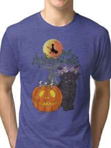 Cat Halloween Flowers Tri-blend T-Shirt