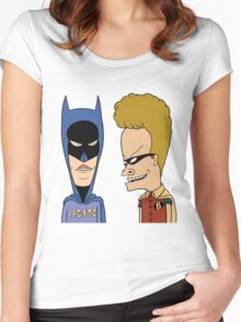 Beavis & Butthead cosplay batman robin Women's Fitted Scoop T-Shirt