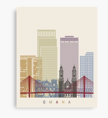 Omaha skyline poster Canvas Print