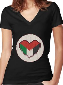 Palestine knitted heart  Women's Fitted V-Neck T-Shirt