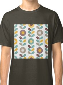 Retro flowers,floral,retro,pattern,teal,yellow,brown,white,hues,vintage, Classic T-Shirt