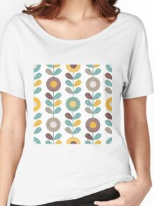 Retro flowers,floral,retro,pattern,teal,yellow,brown,white,hues,vintage, Women's Relaxed Fit T-Shirt