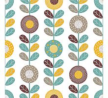 Retro flowers,floral,retro,pattern,teal,yellow,brown,white,hues,vintage, Photographic Print