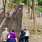 Stairs of Montmartre, Paris, France by Elaine Teague