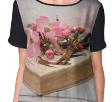 Old book in pink Chiffon Top