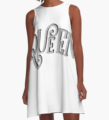 QUEEN MARIE GLITTER  LETTERING | SILVER TRENDY GRAPHIC QUOTE A-Line Dress
