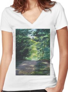 Summer In The Chestnut Woods Women's Fitted V-Neck T-Shirt