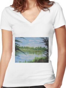 Summer By The River Women's Fitted V-Neck T-Shirt