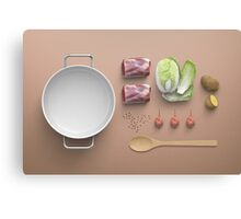 Tender Boiled Beef Soup Flatlay Canvas Print