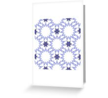blue fifteen angle stars and six petal flowers Greeting Card