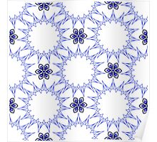 blue fifteen angle stars and six petal flowers Poster