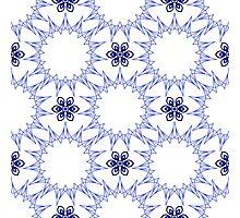 blue fifteen angle stars and six petal flowers Photographic Print