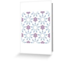 ornament like violet lilacs and blue nine angle stars Greeting Card