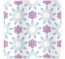 ornament like violet lilacs and blue nine angle stars Poster