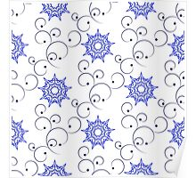 blue east ornate branches and nine angle stars Poster