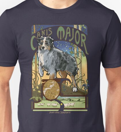 Australian Shepherd Art Nouveau Canis Major Constellation Unisex T-Shirt