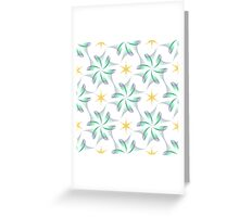 wings like flowers and yellow six angle stars Greeting Card