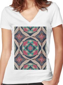 lotus multy color Women's Fitted V-Neck T-Shirt