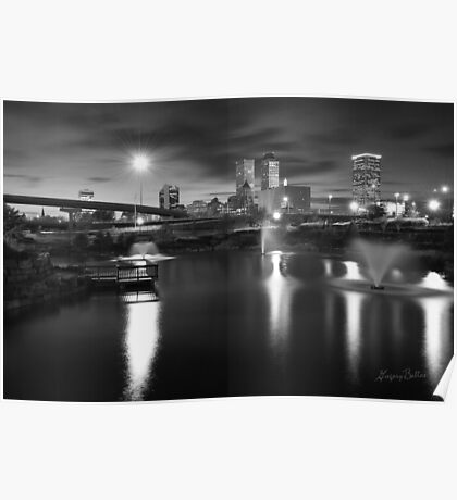 Tulsa Lights - Centennial Park View (Black and White) Poster