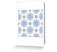 blue big geometric flowers and nine angle stars Greeting Card