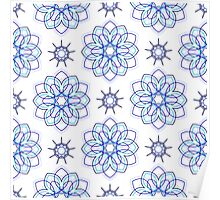 blue big geometric flowers and nine angle stars Poster