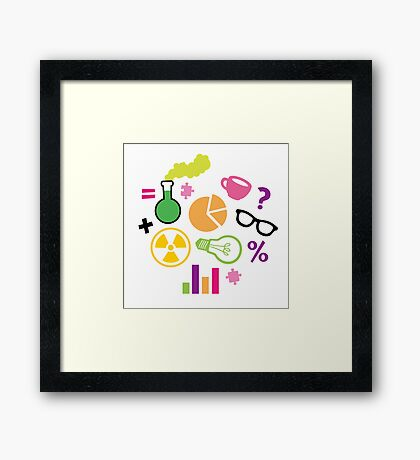 Crazy Neon Scientist Pattern Framed Print
