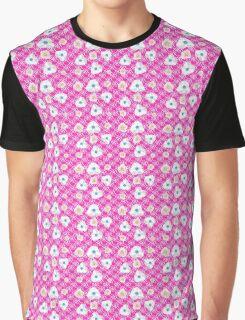 Blümchen weiß, rosa, hellblau auf pink-Majestic-World-Design M.A.Martin Graphic T-Shirt