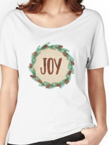 Joy Rustic Christmas Wreath Women's Relaxed Fit T-Shirt