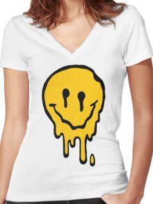 ACID SMILE Women's Fitted V-Neck T-Shirt