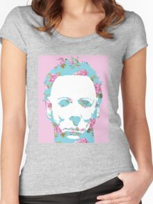 Halloween Floral Michael Myers Women's Fitted Scoop T-Shirt