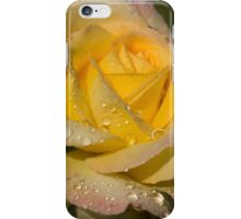 Golden Yellow Sparkles - a Fresh Rose With Dewdrops iPhone Case/Skin