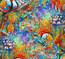 Colorful Iguana Art - Tropical Two - Sharon Cummings by Sharon Cummings