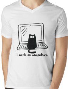 I work on computers Mens V-Neck T-Shirt