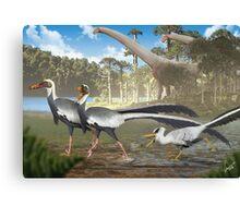 Fighting Unenlagias in Late Cretaceous Argentina Canvas Print