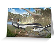 Fighting Unenlagias in Late Cretaceous Argentina Greeting Card