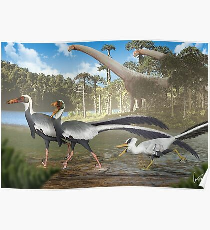 Fighting Unenlagias in Late Cretaceous Argentina Poster